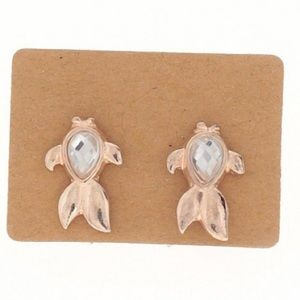 Coppery rose gold colored goldfish earrings